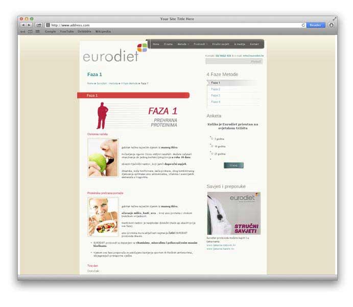 Eurodiet stranica i web shop