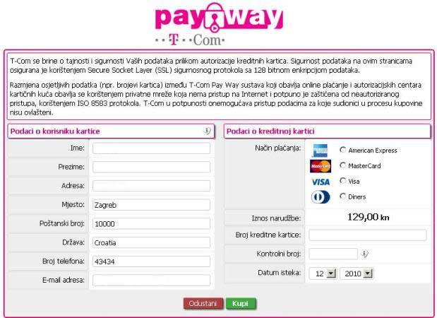PayWay T-com naplata